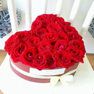 Aranjament In Cutie Inima 23 Trandafiri Rosii Ar261 Florarie