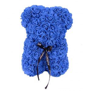 Urs trandafiri spuma albastru 25 cm